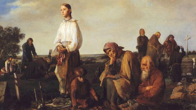 А. И. Корзухин, «Поминки на деревенском кладбище», 1865 г.