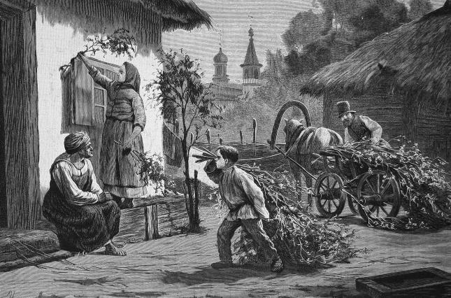 Гравюра Ю. Шюблера с картины И. Ижакевича, «Накануне Троицы», 1888 г.