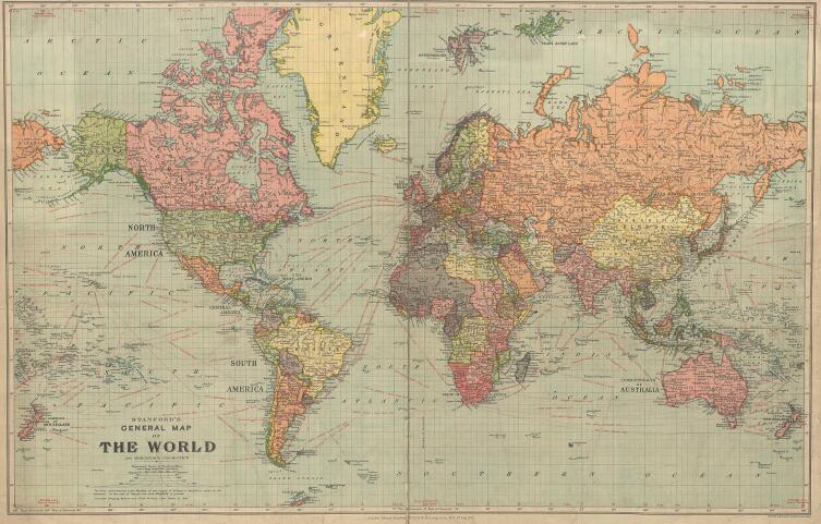 Земля Санникова отмечена на британской карте мира 1922 г.