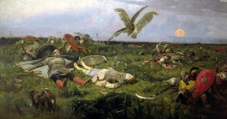 В. М. Васнецов, «После побоища Игоря Святославича с половцами», 1880 г.