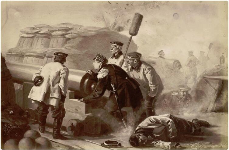 И. М. Прянишников, «Адмирал Нахимов на севастопольском бастионе», 1914 г.