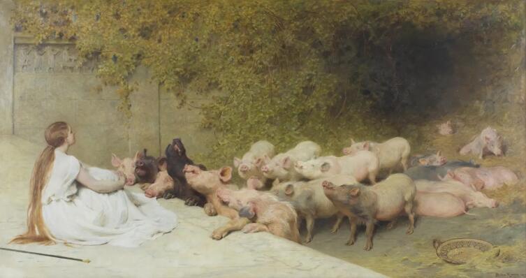 Брайтон Ривьер, «Цирцея со свиньями», 1896 г.