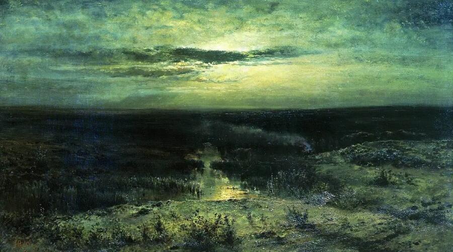 А. К. Саврасов, «Лунная ночь. Болото», 1870 г.