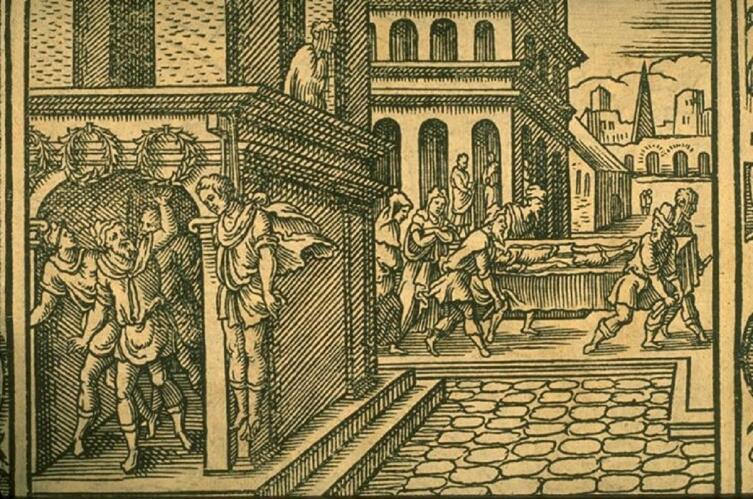 Виргиль Солис, «Ифис и Анаксарета» иллюстрация к «Метаморфозам» Овидия, 1581 г.