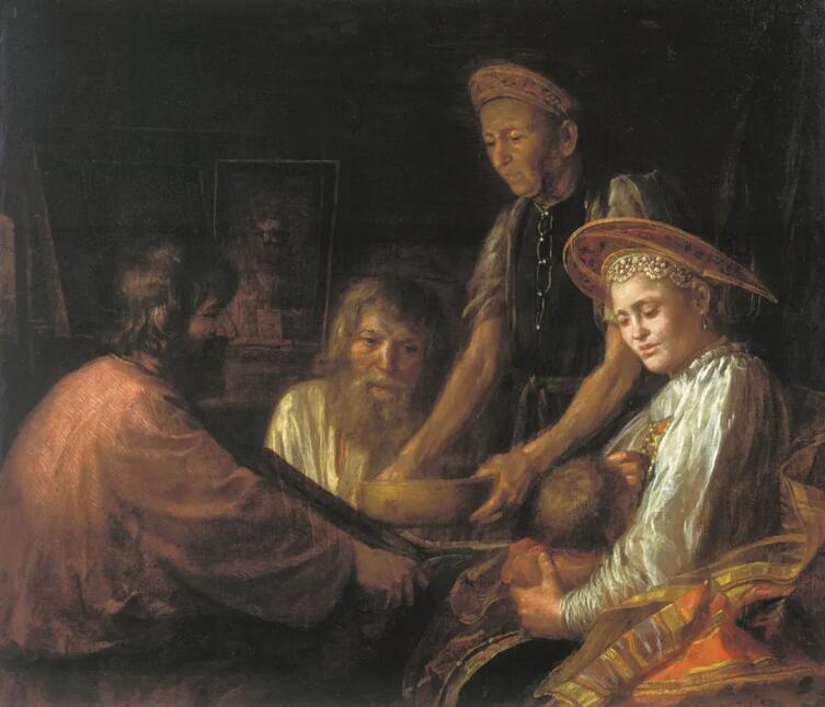Михаил Шибанов, «Крестьянский обед», 1774 г.