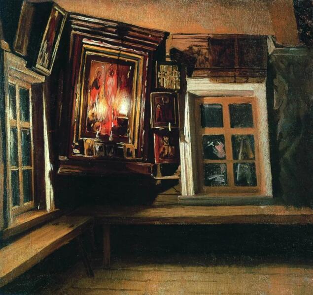 В. М. Максимов, «Красный угол в избе», 1869 г.