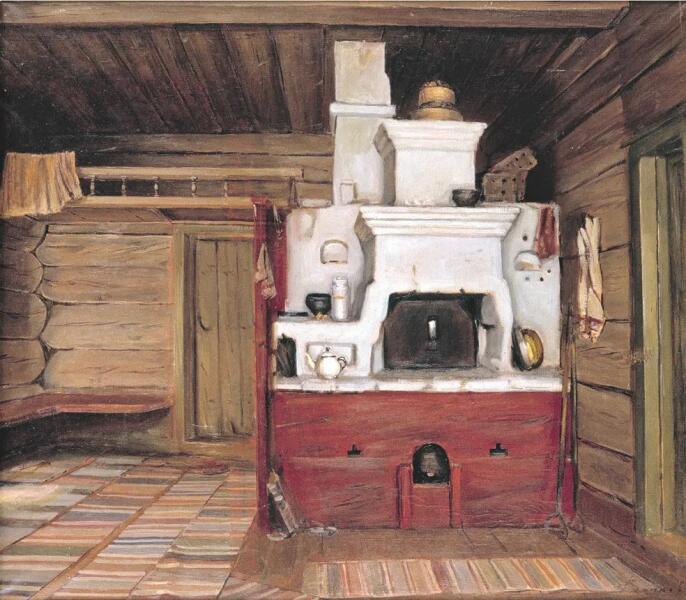 Ю. Н. Волков, «Интерьер с русской печью. Тарнога», 1984 г.