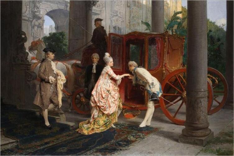 Джироламо Индуно, «Поцелуй руки», 1877 г.