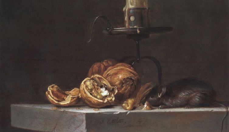 Виллем ван Алст, «Натюрморт с мышью и подсвечником», 1647 г.
