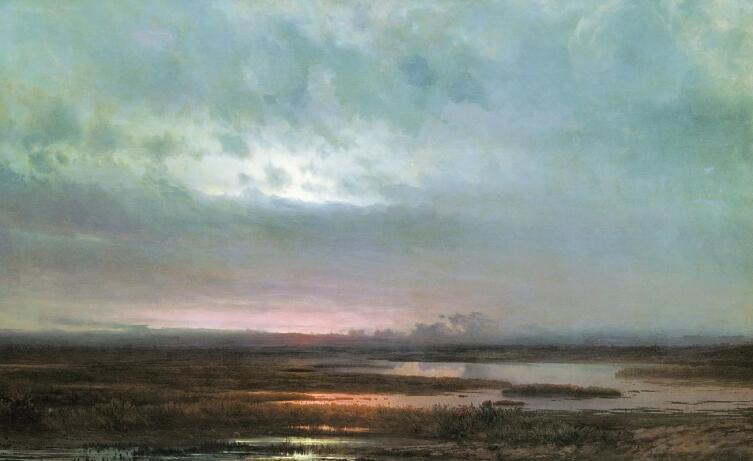 А. К. Саврасов, «Закат над болотом», 1871 г.