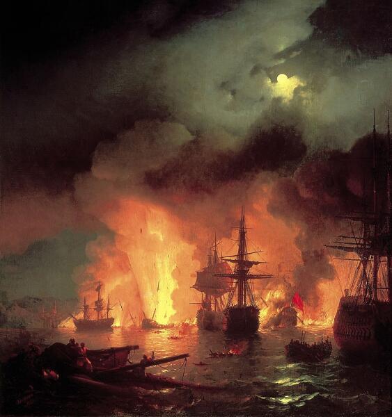 И. К. Айвазовский, «Чесменский бой в ночь с 25 на 26 июня 1770 года», 1848 г.