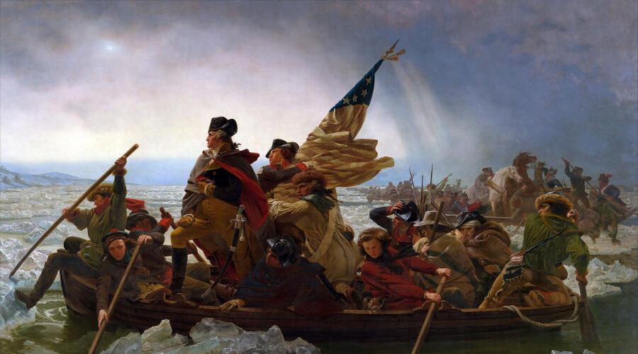 Эмануэль Лойце, «Вашингтон переправляется через Делавэр» 1851 г.