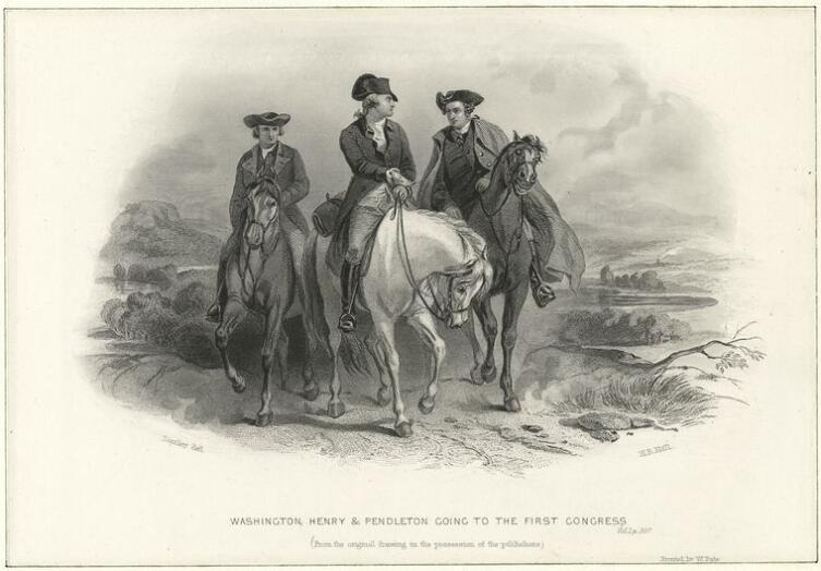 Генри Брайан Холл, «Вашингтон, Генри и Пендлтон едут на конгресс», 1886 г.