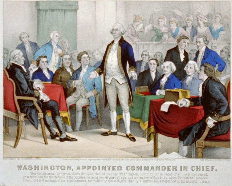 Конгресс назначает Вашингтона главнокомандующим. Рисунок 1876 г.