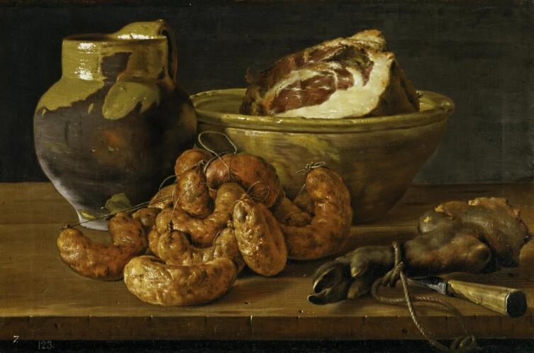 Луис Мелендес, «Натюрморт с колбасой и ветчиной», 1772 г.