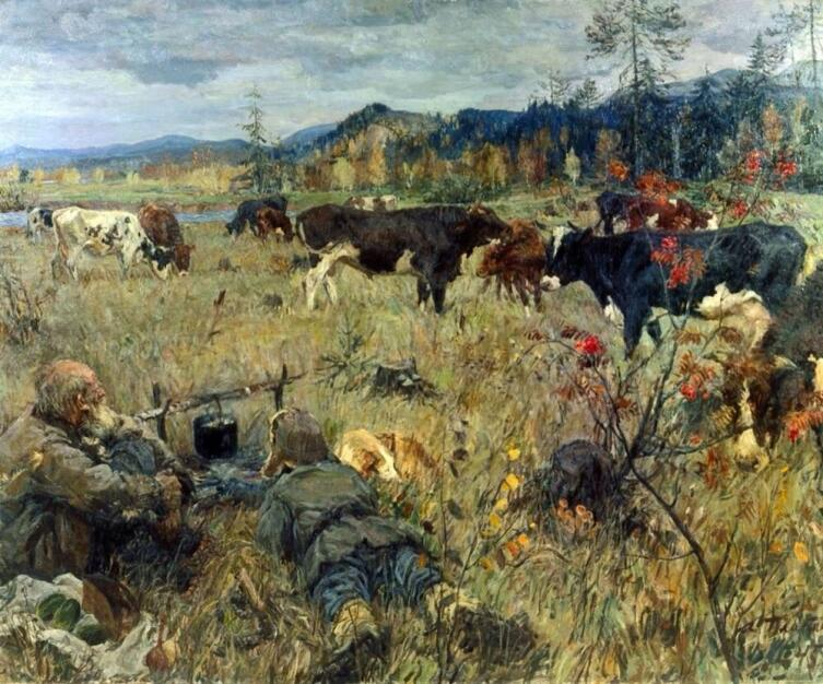 А. А. Пластов, «Стадо тагилок», 1945г.