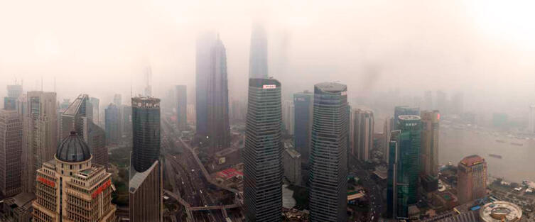 Панорама района Пудун Шанхая