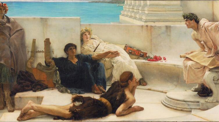 Лоуренс Альма-Тадема, «Чтение Гомера», 1885 г.