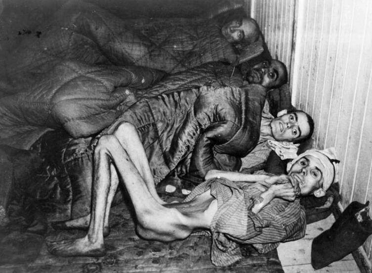 Четверо истощенных узников концлагеря Освенцим после освобождения. 27.01.1945 г.