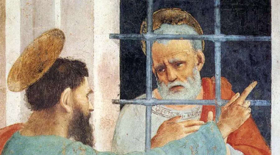 Филиппино Липпи, «Святой Петр посетил в тюрьме Святого Павла» (фрагмент)
