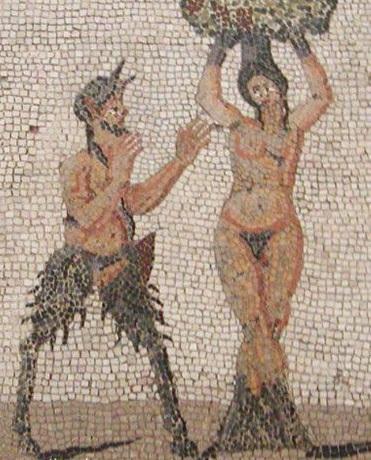 Пан и Питис. III век. Римская мозаика. Национальный археологический музей Неаполя