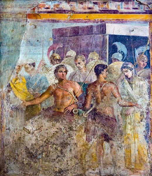 Ахиллес отдаёт Брисеиду Агамемнону. Фреска из Дома трагика в Помпеях, I век н. э., ныне в Национальном археологическом музее Неаполя