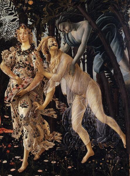 Сандро Боттичелли, «Весна» (фрагмент), Убегающая нимфа Хлорида, преследующий её Зефир — и Флора, в которую превращается Хлорида, 1482 г.