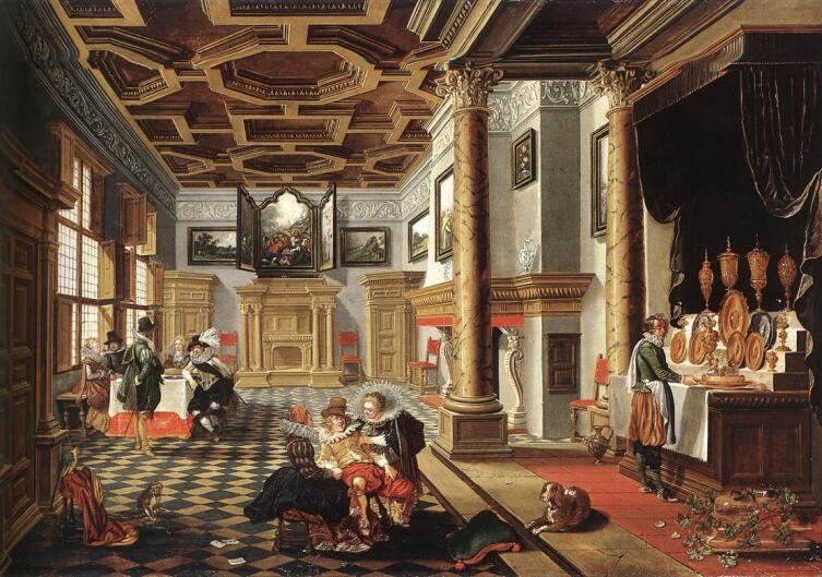 Бартоломеус ван Бассен, «Банкет в интерьере эпохи Возрождения», 1618 г.