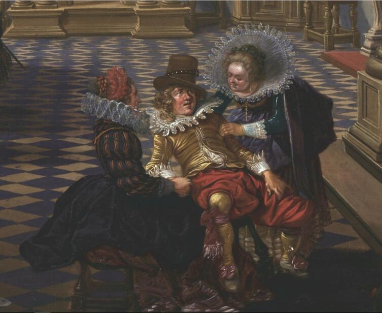 Бартоломеус ван Бассен, «Банкет в интерьере эпохи Возрождения», фрагмент