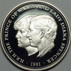 Памятная монета в честь свадьбы принца Уэльского и леди Дианы Спенсер