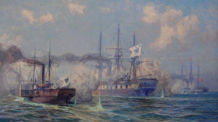 Александр Кирхер, ««Сьелланд» (справа) вступает в бой с гребным пароходом «Лорелей» и корветом «Нимфа»»