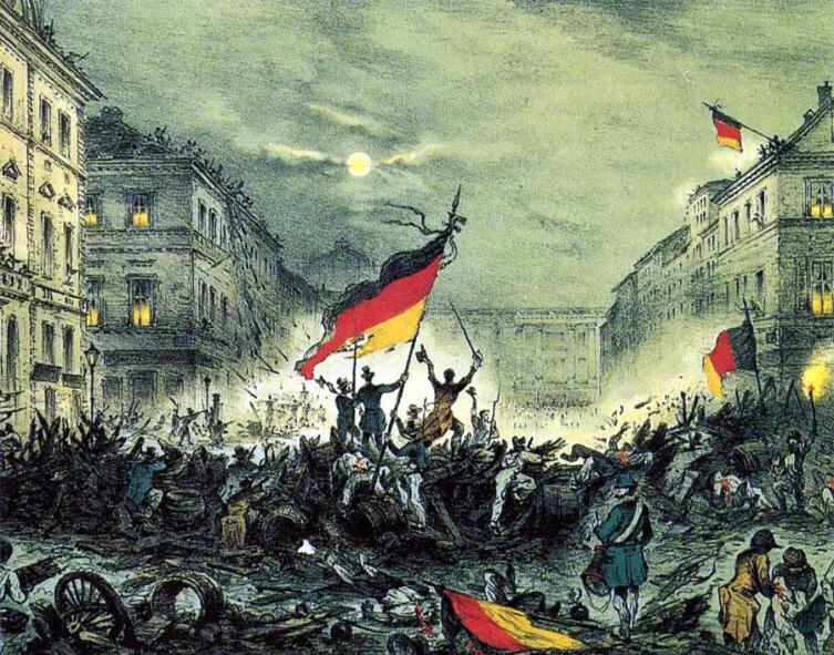 На берлинских баррикадах в марте 1848 г.