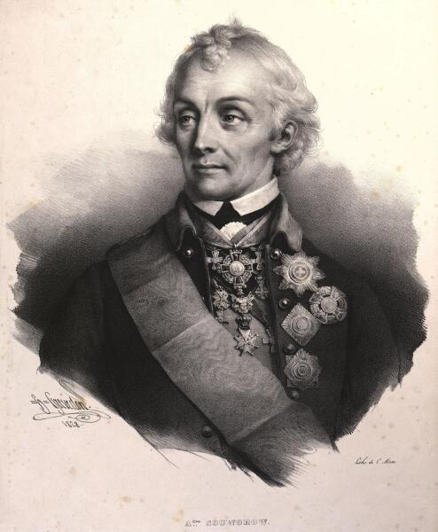 Полководец А. В. Суворов. Литография 1828 г.