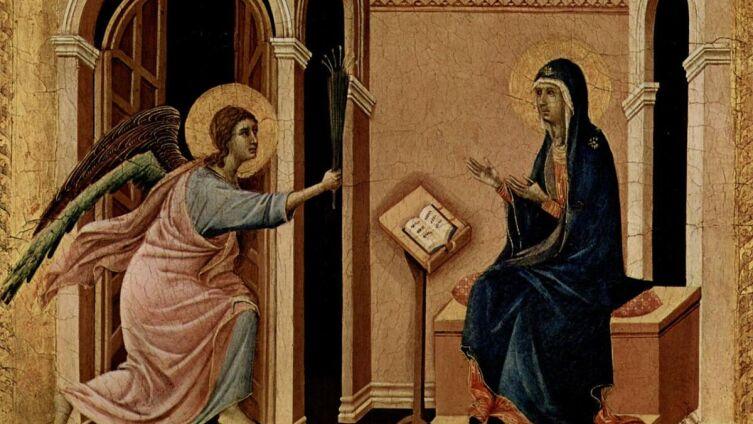 Дуччо ди Буонинсенья, «Архангел Гавриил приносит Деве Марии весть о предстоящей кончине» (фрагмент), 1308-1311 гг.