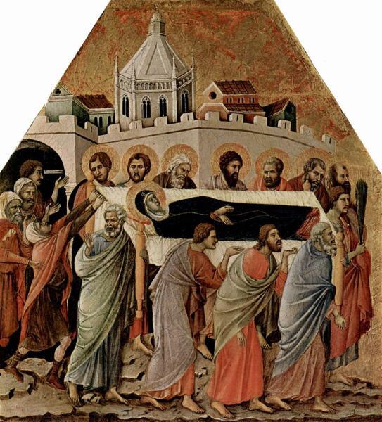 Дуччо ди Буонинсенья, «Погребение Богородицы» (фрагмент), 1308-1311 гг.