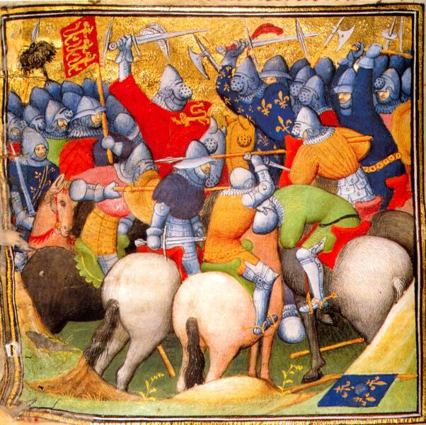 Миниатюра из «Больших французских хроник», «Битва при Креси», XV век