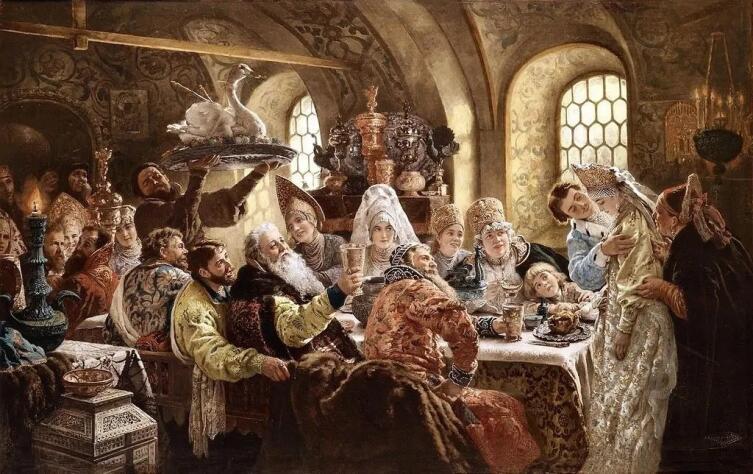 К. Е. Маковский, «Боярский свадебный пир в XVII веке», 1883 г.