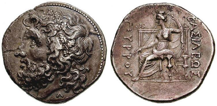 Тетрадрахма, Эпир, Греция, серебро, 16.38 граммов, 280 год до н.э. Слева — голова Зевса в дубовом венке, справа — сидящая Диона держит в правой руке скипетр