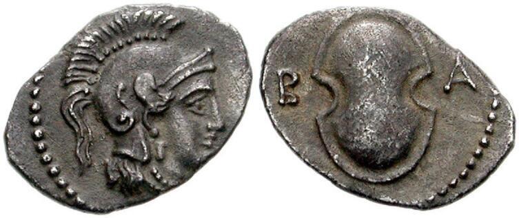 Балакрос, сатрап Киликии, 361 год до н.э., справа — изображение беотийского щита