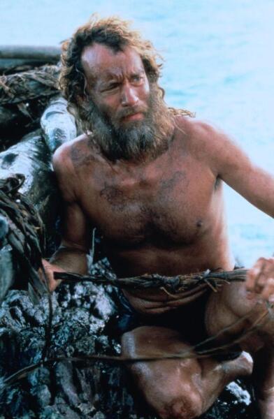 Том Хэнкс в роли отшельника. Кадр из к/ф «Изгой», 2000 г.
