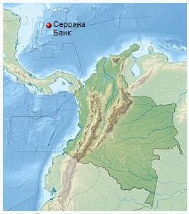 Серрана-Бэнк- атолл в западной части Карибского моря