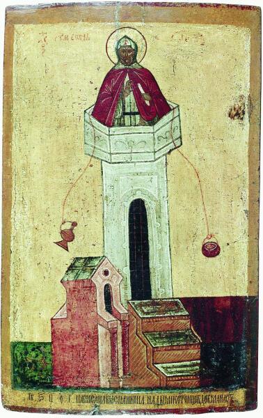 Симеон Столпник, русская икона, 1465 г.