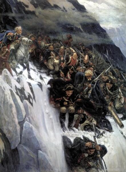 В. И. Суриков, «Переход Суворова через Альпы в 1799 году», 1899 г.