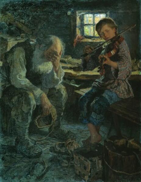 Н. П. Богданов-Бельский, «Талант и поклонник», 1906 г.