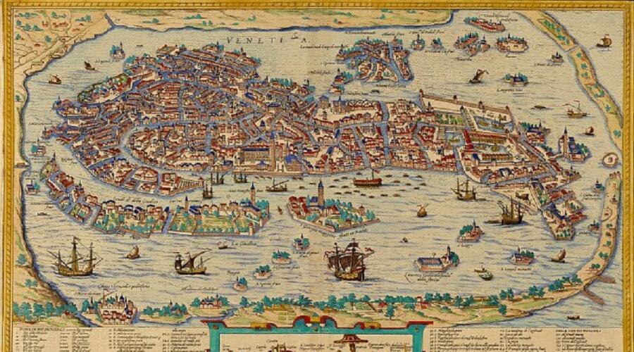 Карта Венеции работы Болоньино Зальтиери, 1565 г.