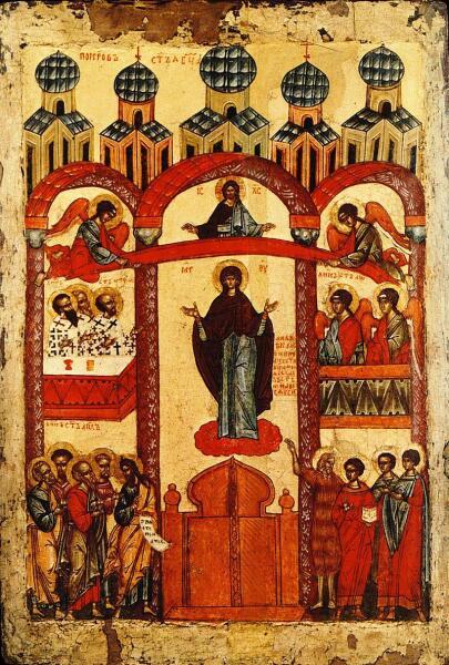 Икона «Покров Пресвятой Богородицы», Новгород, 1401—1425 гг.