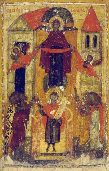 Покров Богоматери. Икона 1360-х гг. из Покровского монастыря в Суздале