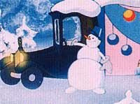 Снеговик— еще один помощник Деда Мороза (кадр из м/ф «Дед Мороз и Серый Волк»).