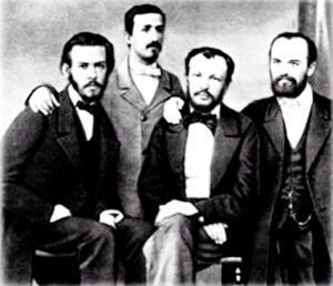 Русские ученые-химики в Гейдельберге. Слева направо: Н. Житинский, А.П. Бородин, Д.И. Менделеев, В.И. Олевинский