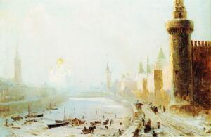 Юнге Е.Ф. Вид Московского Кремля и храма Христа Спасителя зимой.